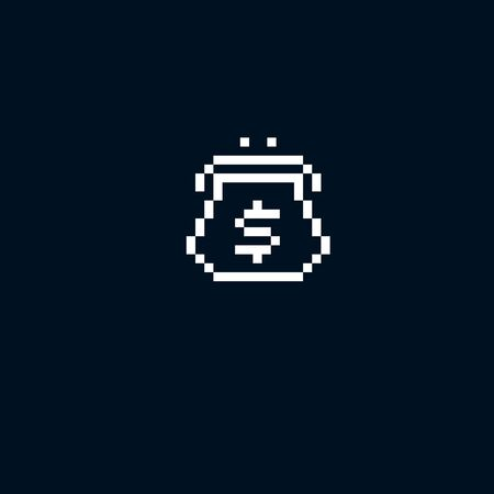 simplistic icon: Vector pixel icon isolated, 8bit graphic element. Wallet, fashion accessory, simplistic digital sign created in business and finance theme.