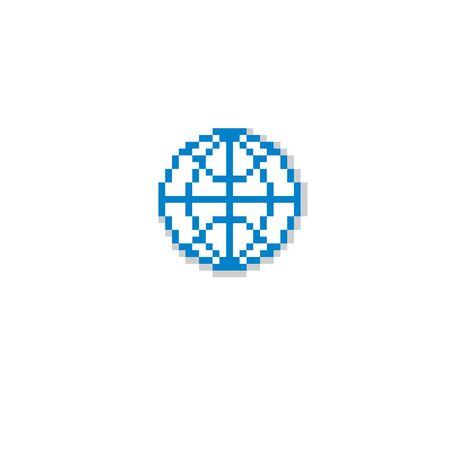 8bit: Vector pixel icon isolated, 8bit graphic element. Simple Earth globe sign, globalization idea.