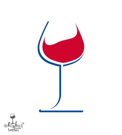 revelry: Classic sophisticated wine goblet, stylish alcohol theme illustration. Artistic wineglass, romantic rendezvous idea. Lifestyle graphic design element. Illustration