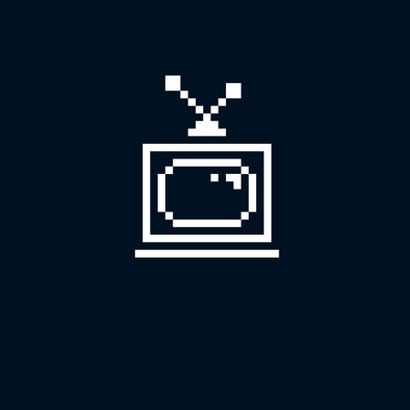 tv set: Vector pixel icon isolated, 8bit graphic element. Simplistic TV set sign, television and media idea. Illustration