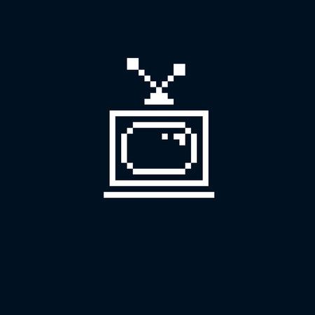 8bit: Vector pixel icon isolated, 8bit graphic element. Simplistic TV set sign, television and media idea. Illustration