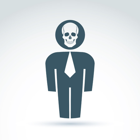 cranium: Silhouette of person standing in front - vector illustration of a human being.  Vector skull symbol, scary cranium icon. Halloween concept.