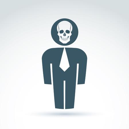 ser humano: Silueta de la persona de pie delante - ilustración vectorial de un ser humano. Vector símbolo del cráneo, miedo icono de cráneo. Concepto de Halloween. Vectores
