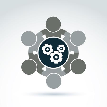 asociacion: Ilustración del vector de engranajes - tema de sistema de la empresa, el concepto de estrategia de negocio. Ruedas dentadas, piezas móviles y los componentes de proceso de fabricación. Vectores