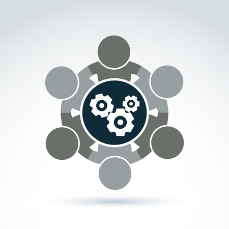 association: Vector  illustration of gears - enterprise system theme, business strategy concept. Cog-wheels, moving parts and people, components of manufacturing process.