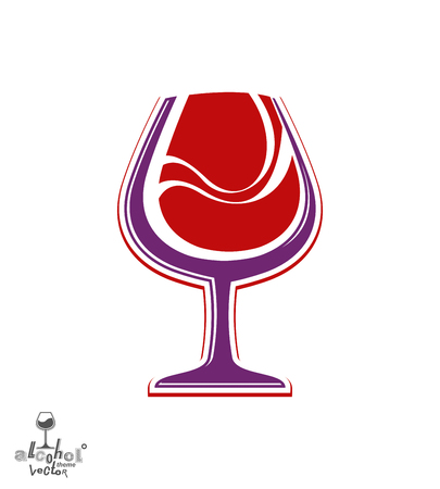 Beautiful vector wine goblet, alcohol theme illustration. Stylized art wineglass, decorative Valentine's day idea object. Lifestyle graphic element.