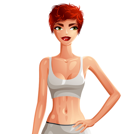 Illustration of a young pretty woman with a stylish haircut. Colorful drawing of a coquette red-haired lady, Caucasian sport and active girl holds hand on a waist. Well-being and healthy lifestyle. Illustration