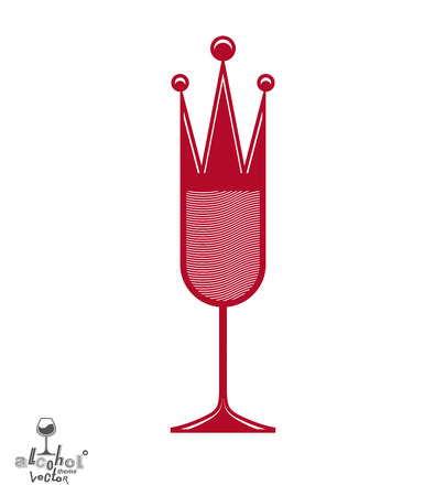 Champagne glass with royal crown, decorative goblet full with sparkling wine. Queen of the evening conceptual illustration, celebration theme eps8 object. Illustration