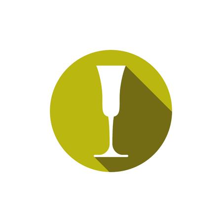 revelry: HoReCa graphic element, champagne glass. Alcohol theme conceptual symbol.