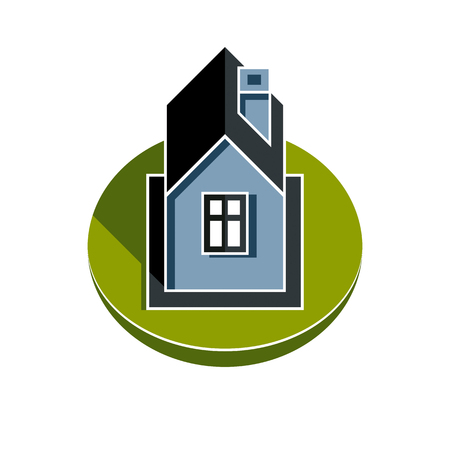 homely: Abstract house vector illustration, village idea. Graphic country house image over green field, simple countryside building. Graphic element best for use in advertising.