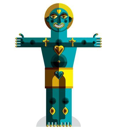 cubismo: Avant-garde avatar, colorido dibujo creado en el estilo del cubismo. Retrato geométrica modernista, ilustración vectorial de ídolo.