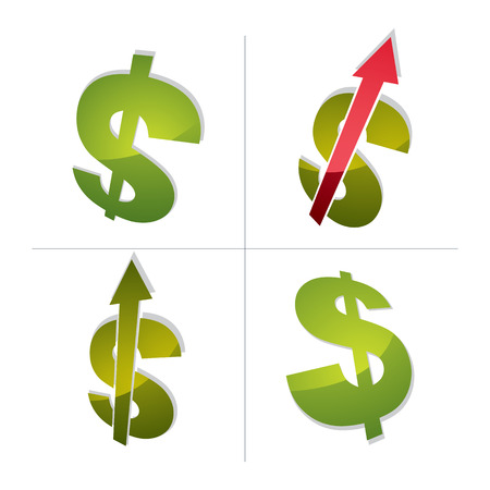pointing up: Three-dimensional dollar symbols collection with an arrow pointing up, economics growth trend conceptual icons. Business development 3d vector design elements.