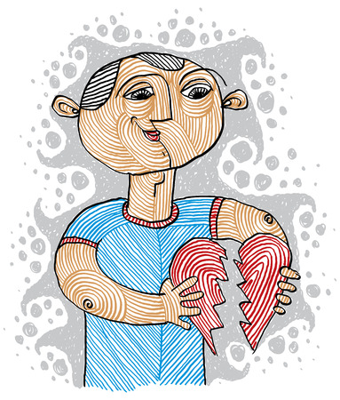Conceptual drawing of a loving man trying to stick together the heart. Fix relationship symbolic illustration. Goodness and love theme.