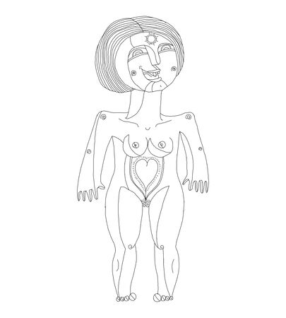 Nude woman graphic vector illustration. Femininity concept hand drawn modern black and white  image, love and fertility theme. Naked female with heart symbol isolated on white.