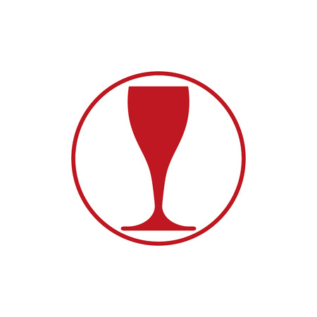 sophisticate: Winery theme, classic wine goblet isolated on white. Wine degustation conceptual symbol, design element.