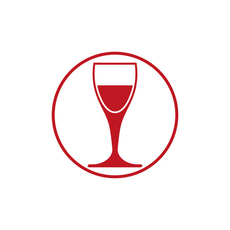 conceptual symbol: Winery theme, classic wine goblet isolated on white. Wine degustation conceptual symbol, design element.