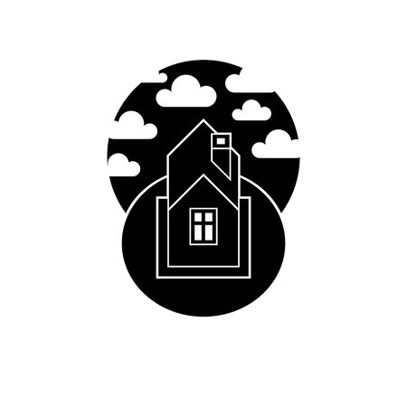 single color image: Black abstract house vector illustration, village idea. Black and white country house image, simple countryside building. Graphic element best for use in advertising.