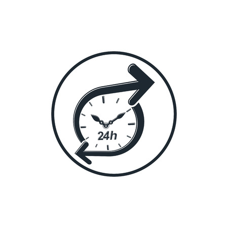 clockwise: 24 hours-a-day concept, clock face with a dial and an arrow around. Day-and-night interface icon, for use in web design. Illustration
