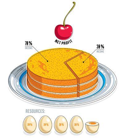 porcion de pastel: Infographics template, piece of pie idea, vector illustration.