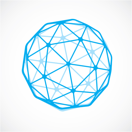 trigonometry: Blue faceted orb created from triangles, dimensional vector sphere. Low poly geometric design element for use in engineering and technology. Illustration