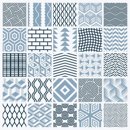 グラフィック装飾タイル コレクション、繰り返されるパターンをモノクロのベクトルのセット。ビンテージ アートの抽象的なテクスチャは、壁紙と  イラスト・ベクター素材