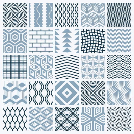 Graphic ornamental tiles collection, set of monochrome vector repeated patterns. Vintage art abstract textures can be used as wallpapers. Ilustração