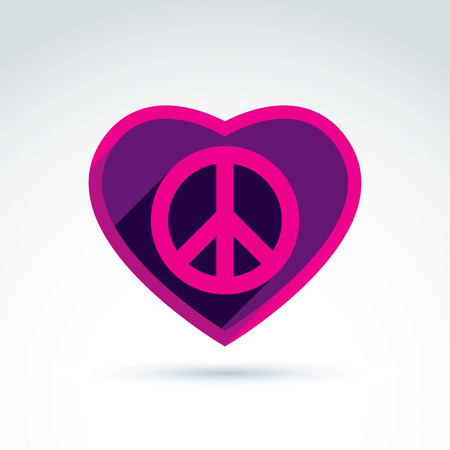 60th: Peace and love theme - antiwar and love vector icons, loving heart sign with peace symbol from 60th. Harmony relationship illustration isolated on white background. Illustration