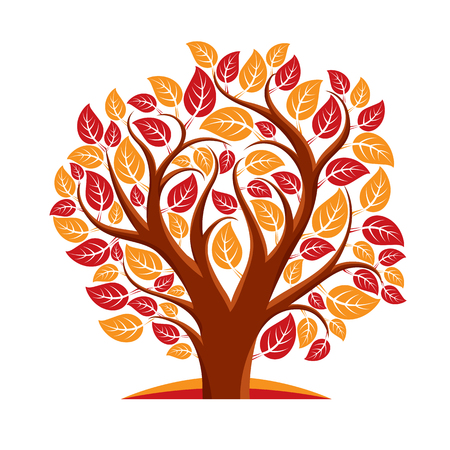 autumn tree: Vector illustration of autumn tree with branches in the shape of heart, love and motherhood idea image. Tree of life theme illustration.