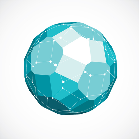 3d vector low poly spherical object with black connected lines and dots, geometric green wireframe shape. Perspective facet ball created with squares and pentagons. Illustration