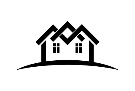 touristic: Abstract vector houses with horizon line. Can be used in advertising and branding as a corporate symbol. Real estate business theme. Illustration