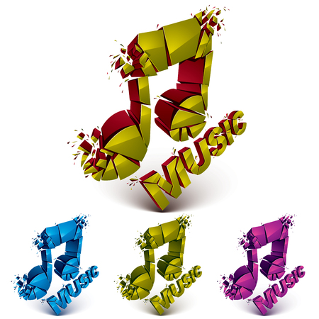 demolish: Set of 3d vector shattered musical notes with music word. Art melody transform symbols broken into pieces.