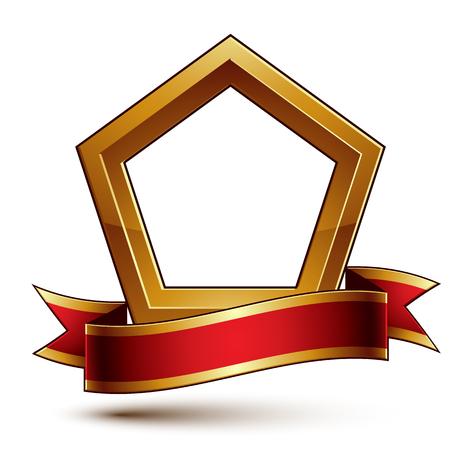 황금 개요, 빨간색 장식 물결 모양의 리본 차원 왕실의 개념 보호판 령 벡터 템플릿. eps8의 귀족 문장 흰색 배경에 고립입니다.