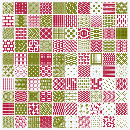 intertwine: Vector red and green ornamental seamless backdrops set, geometric patterns collection. Ornate textures made in modern simple style.