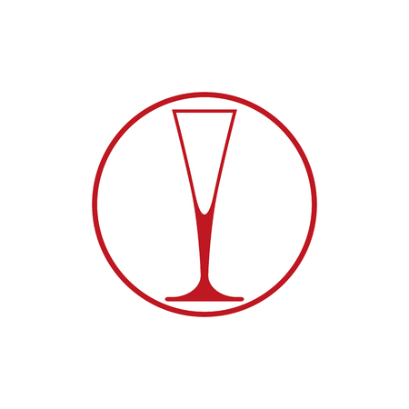 conceptual symbol: HoReCa graphic element, champagne glass. Alcohol theme conceptual symbol.