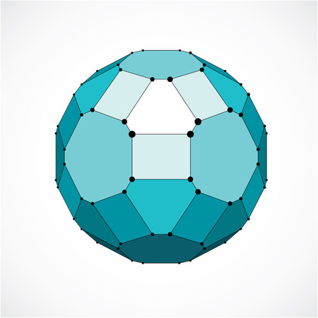 facet: Vector dimensional wireframe low poly object, spherical green facet shape with black grid. Technology 3d mesh element made using pentagons for use as design form in engineering.