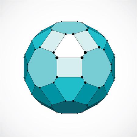 Vector wireframe dimensionnel objet faible poly, la forme de la facette verte sphérique avec grille noire. Technologie élément de maille 3d faite en utilisant pentagones pour une utilisation en tant que forme de conception en ingénierie.