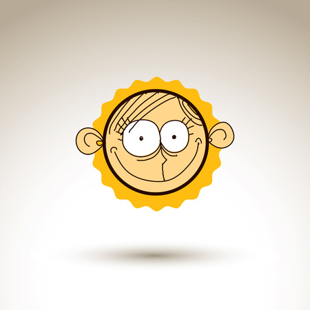 personality: Vector graphic drawing of personality face, bizarre male portrait. Social network theme illustration, human emotions idea.