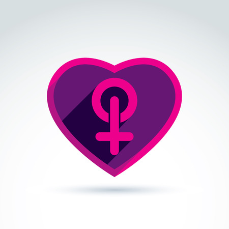homosexual sex: Heart with a pink female sign, woman gender symbol. Lesbian club conceptual icon ? chat on a relationship theme. Illustration