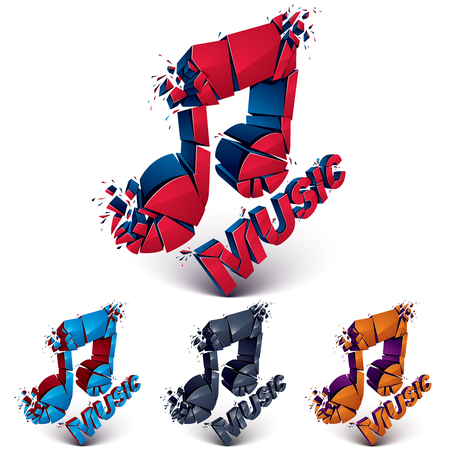 Collection of 3d vector demolished musical notes, music word. Dimensional groove design elements with refractions, explosion effect. Illustration