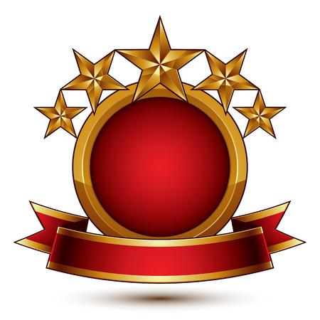 branded: Vector glamorous round element with red filling, 3d polished five golden stars branded symbol with festive ribbon. Dimensional decorative stars, elegant shaped blazon. Eps8. Illustration