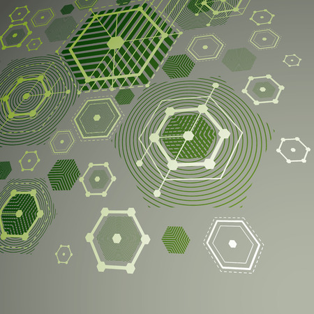 overlie: 3d vector abstract green background created in Bauhaus retro style. Dimensional modern geometric composition can be used as templates and layouts.