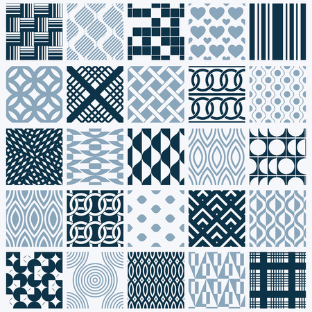 entwine: Graphic ornamental tiles collection, set of monochrome vector repeated patterns. Vintage art abstract textures can be used as wallpapers. Illustration