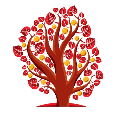 fruity: Fruity tree with ripe apples isolated on white. Wealth and prosperity conceptual illustration.
