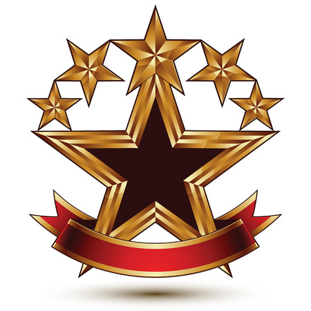 Glamorous vector template with pentagonal golden stars, best for use in web and graphic design. Conceptual heraldic icon with red curved ribbon, clear eps8 vector.