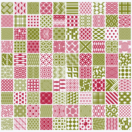 different figures: Set of vector endless geometric patterns composed with different figures like rhombuses, squares and circles. 100 graphic tiles with ornamental texture can be used in textile and design.