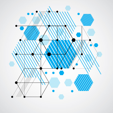 Vector abstract blue background created in Bauhaus retro style. Modern geometric composition can be used as templates and layouts. Engineering technological wallpaper made with honeycombs. Illustration
