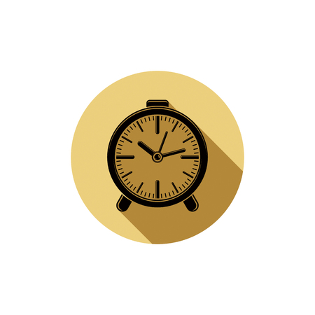 clockwise: Wake up idea illustration. Classic three-dimensional alarm-clock isolated on white. Table clock with bells.