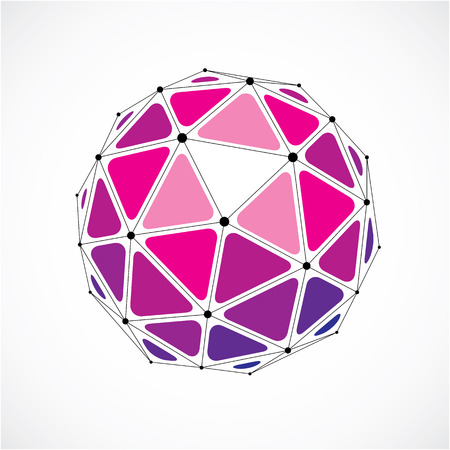 3d vector low poly spherical object with black connected lines and dots, geometric purple wireframe shape. Perspective orb created with triangular facets.