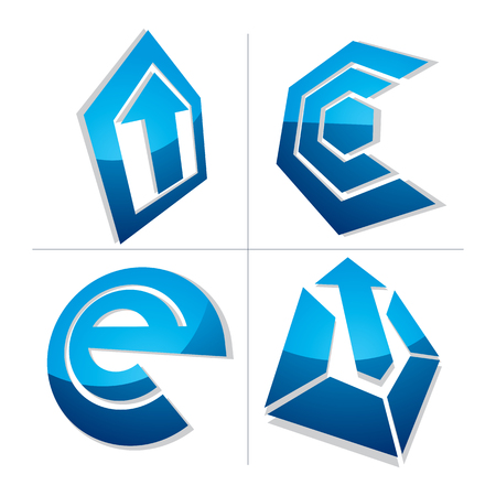 graphical user interface: 3d unusual e symbol, abstract vector geometric symbol. Innovation and technology conceptual icon isolated on white background. E-mail, internet design element.