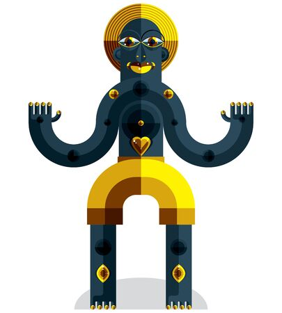 modernistic: Meditation theme vector illustration, drawing of a creepy creature made in modernistic style. Spiritual idol created in cubism style.